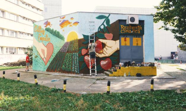 Un nou mural pictat în Iași: 200 metri pătrați purificatori și mesaje educative