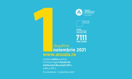 O săptămână la dispoziția arhitecților pentru a se înscrie la Anuala de Arhitectură 2021